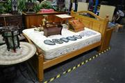 Sale 8046 - Lot 1018 - Timber Framed Double Bed w Very Comfy Mattress
