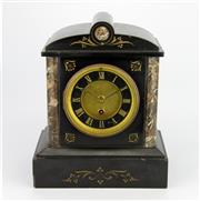 Sale 8139 - Lot 4 - Black Slate & Marble Mantle Clock