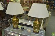 Sale 8331 - Lot 1550 - Pair of Gold Chinese Table Lamps