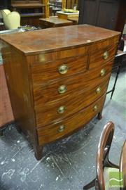 Sale 8335 - Lot 1006 - George III Mahogany Bow Front Chest of Five Drawers, on splayed bracket feet