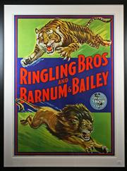 Sale 8445A - Lot 59 - Ringling Brothers And Barnum & Bailey - The Greatest Show on Earth Lithograph 93cm x 65cm (missing glass)