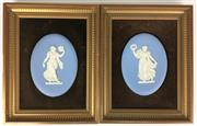 Sale 8562R - Lot 260 - Pair of Framed Wedgwood Plaques (25cm x 19cm)