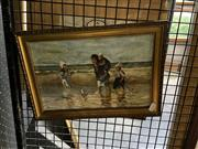Sale 8891 - Lot 2019 - M Wagner, Family at the Beach,1917, oil on canvas on board, 23.5 x 34 cm, signed and dated