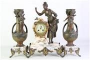 Sale 8913 - Lot 40 - A Early C20th French Marble and Spelter Clock Garniture (H of Garnitures 42cm, H of Clock 48cm) -