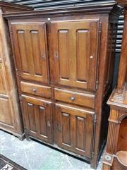 Sale 8956 - Lot 1008 - Early 19th Century French Oak Kitchen Cabinet, with four short panelled doors & two central drawers. (H:180 x W:123 x D:57cm)