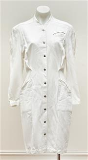 Sale 9081H - Lot 46 - A Thierry Mugler vintage white linen dress with chrome studs, Pairs size 8-10
