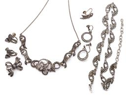 Sale 9149 - Lot 332 - VINTAGE SILVER MARCASITE JEWELLERY AND COSTUME SUITE; marcasite set scrolling necklace to curb link chain and bolt ring clasp, lengt...