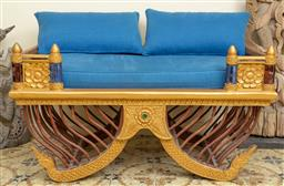 Sale 9164H - Lot 3 - A 20th century gilt painted Howdah/ elephant chair with red and blue glass detail, and electric blue seat cushions, Height 62cm x Wi...