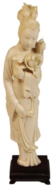 Sale 7974 - Lot 27 - Ivory Carved Figure of Guanyin