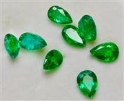 Sale 8036A - Lot 322 - EIGHT UNSET PEAR SHAPE EMERALDS; total weigth 1.20ct.