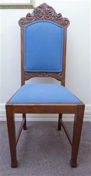Sale 8800 - Lot 203 - A single carved oak high back chair, with blue upholstery