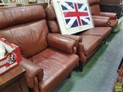 Sale 8455 - Lot 1068 - Moran 2 Seater Leather Lounge & Pair Rocking Armchairs