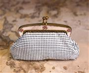 Sale 8474A - Lot 53 - A classic vintage white Oroton mesh coin purse with floral design, condition some wear, (some lining discoloration), size:  8cm x 12...