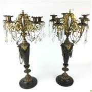 Sale 8562R - Lot 85 - Pair of Gilt Bronze Six Stem Candelabra on Marble Bases with Drop Crystals (one missing a handle) (H: 54cm)