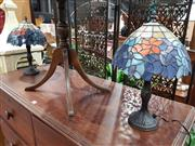 Sale 8697 - Lot 1593 - Pair of Leadlight Shade Table Lamps