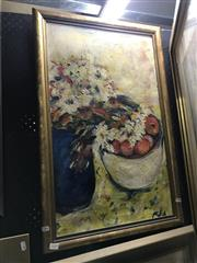 Sale 8794 - Lot 2020 - Artist Unknown - Still Life, Flowers and Apples oil on canvas, 76 x50cm, unsigned