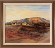 Sale 8818A - Lot 62 - Bill Bevan  Desert Landscape with Local Watering Hole  oil on board  74 x 90cm  signed and dated lower right 1987