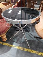 Sale 8904 - Lot 1043 - Art Deco Style Side Table with Glass Top on Stainless Steel Base (61 x 52cm)