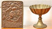 Sale 8976H - Lot 66 - A Buddhist repousse copper panel of a figure with toad, and a brassed lobe cup panel 14cm