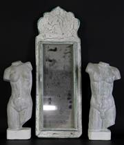Sale 8985 - Lot 67 - A Pair of Composite Busts (H 26cm) Together with A Small Rustic Mirror (H 45cm x W 16cm)