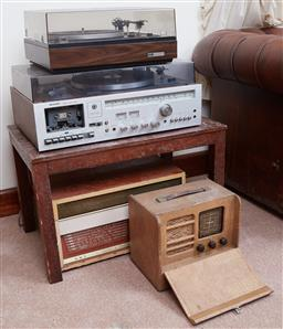 Sale 9103H - Lot 41 - An assortment of stereo equipment including an Elac turn table, a Sharp stereo music centre and an HMV stereophonic record player an...
