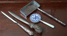 Sale 9103M - Lot 600 - A hallmarked sterling silver letter opener together with one other and a rectangular form magnifying glass and a Chinese hand mirror.