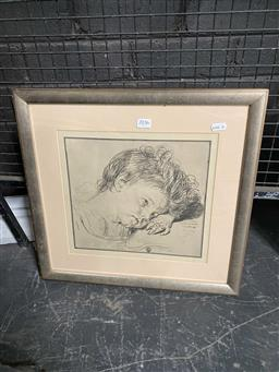 Sale 9159 - Lot 2036 - Artist Unknown Portrait of a Young Child decorative print 41 x 44cm, stamped lower centre -
