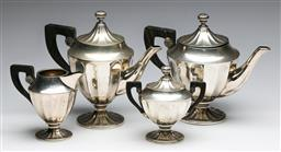 Sale 9175 - Lot 45 - An 800 Silver Tea/Coffee Set with Fluted Body and Ebony Handles (Combined wt 1.03kg)