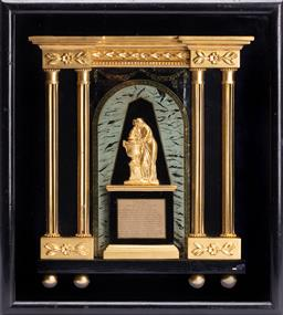 Sale 9185E - Lot 65 - A gilt painted memorial plaque in the memory of David Garrick in box frame, Height 38cm x Width 34cm x Depth 7cm, some losses