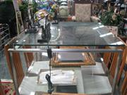 Sale 7933A - Lot 1164 - Glass Top Coffee Table on Metal Base