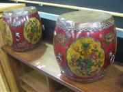 Sale 7933A - Lot 1106 - Pair of Painted Chinese Drums