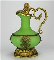 Sale 8139 - Lot 30 - French Green Glass Gilded Jug