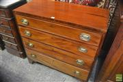 Sale 8335 - Lot 1062 - George III Mahogany Chest of Four Graduated Drawers, with pressed brass handles & bracket feet
