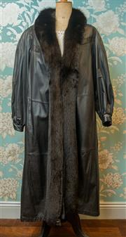 Sale 8420A - Lot 73 - A rare LeMonti New York womens leather trench coat with lama fur trim, size: L, condition: as new