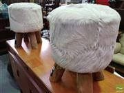 Sale 8550 - Lot 1163 - Pair of White Cow Hide Upholstered Stools on Rustic Timber Legs