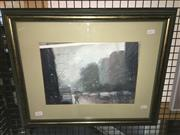 Sale 8771 - Lot 2060 - Mike Barr - Raining Day in Adelaide oil on canvas, 45 x 55cm (frame), signed -