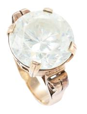 Sale 8965 - Lot 322 - A VINTAGE 9CT GOLD STONE SET RING; set with a round cut crystal (worn), 14mm, to pierced gallery and scrolling shoulders, size N, wt...