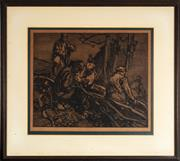 Sale 9058H - Lot 54 - Frank Brangwyn, Mending the nets, engraving, signed in pencil lower right.33 x 39.5cm
