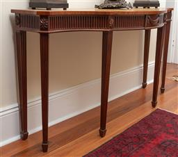 Sale 9190W - Lot 66 - A mahogany serpentine front leather inlay hall table in the Georgian manner. Height 82 x width 152 x depth 52cm