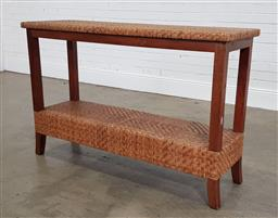 Sale 9210 - Lot 1013 - Cane top & base timber hall table (h:85 w:130 d:43cm)