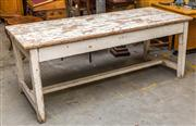 Sale 8287A - Lot 52 - A rustic white farmhouse pine table with charming distressed finish. 80cm high x 79cm wide x 200cm long