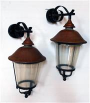 Sale 8312A - Lot 18 - A pair of vintage copper and iron wall lanterns, with later Perspex glass fitted, size 53 x 40 cm