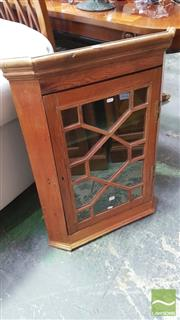 Sale 8375 - Lot 1083 - Rustic Pine Hanging Corner Cabinet, of small proportions with astragal door