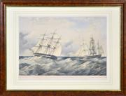 Sale 8347A - Lot 66 - Lieut. C.P. Coles & R.N. del T.G. Dutton (XIX) - Trial Between H.M.S. Phaeton, Arethusa, Leander and Indefatigable 35 x 52.5cm