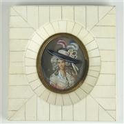 Sale 8393B - Lot 50 - Ivory Framed Miniature of a Lady