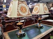 Sale 8576 - Lot 1037 - Pair of Versace Style Marble & Gilt Metal Table Lamps, of urn form & square socle, with matching printed fabric shades