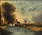 Sale 8692 - Lot 621 - Artist Unknown - Fording a Stream 24.5 x 29cm