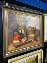 Sale 8891 - Lot 2004 - W Hook - The Red Kettle oil on canvas on board, 63 x 73cm (frame) signed