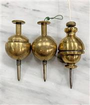 Sale 8951P - Lot 338 - Set of 3 of Brass Ball Form American Plumb Bobs with Screw Tips (8cm)