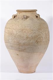 Sale 9003C - Lot 620 - Chinese Potted Vessel Incised with Floral Decoration (H: 60cm)